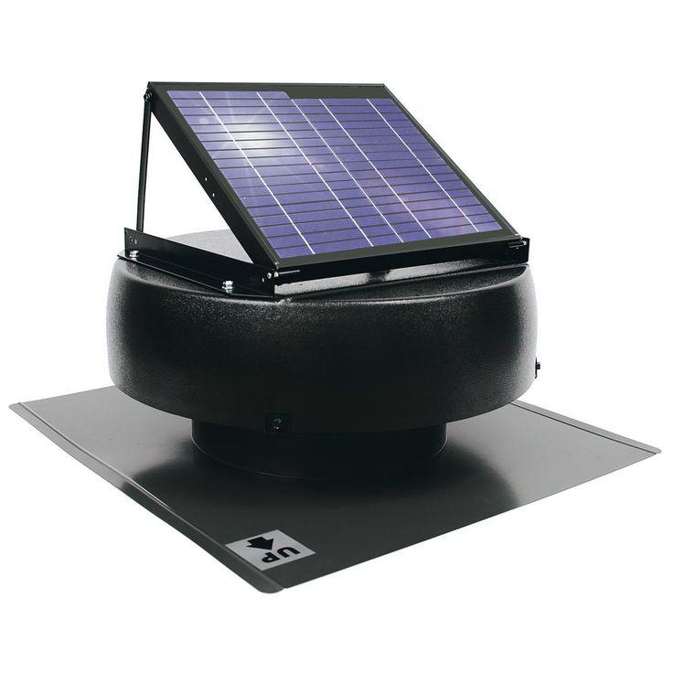 1000 CFM 12-Watt Solar Powered Attic Fan, Black