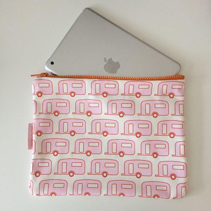 Retro Caravan iPad Mini Case Pencil Case in Pink Floss & Orange - Hand Screenprinted on 100% Cotton Canvas by SalisburyRoad on Etsy