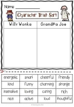 charlie and the chocolate factory   character trait activities pack  charlie and the chocolate factory   character trait activi