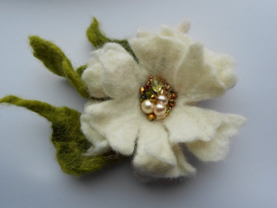 Wool Felted Flower Pin or Bobby Pin White and Green by MaijaFeja, $20.00
