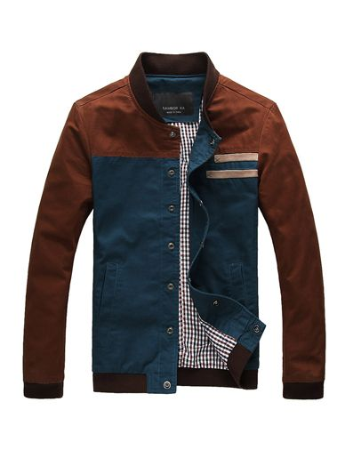 Trendy Stand Collar Jacket with Denim Panel For Men