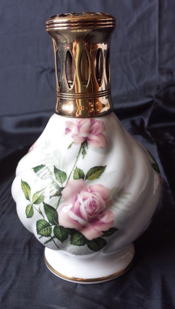 White Lampe Berger Porcelaine de Paris France Roses Catalytic Fragrance Lamp