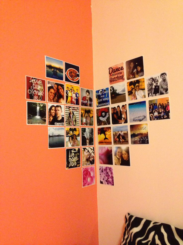 diy photo wall heart shaped pictures for the home