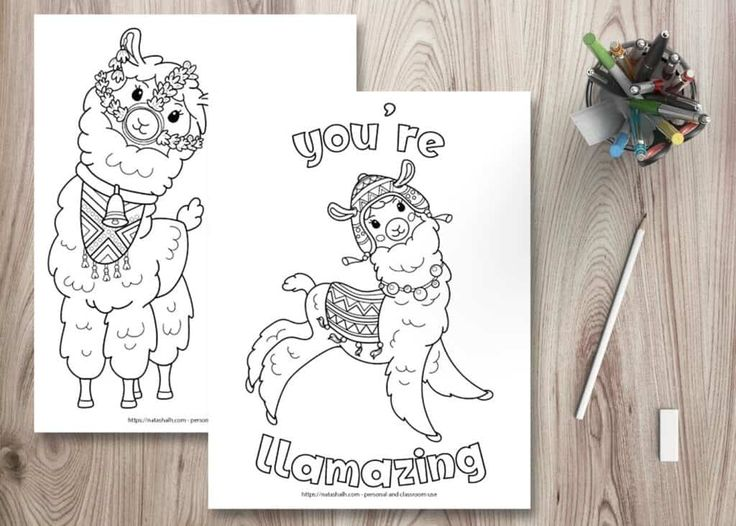 Ridiculously Cute Llama Coloring Pages (for kids & teens