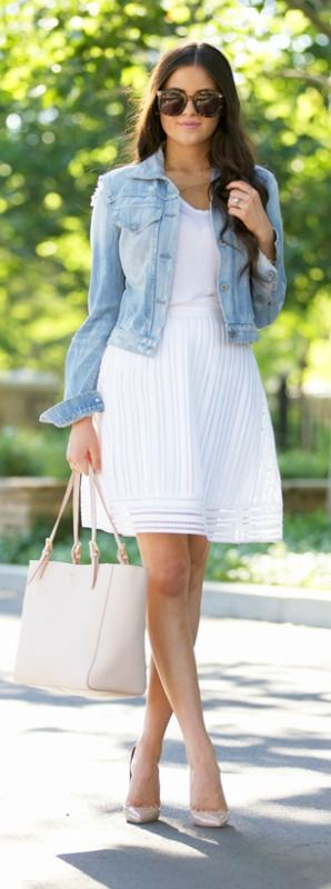We love this white skirt paired with a denim jacket - a look like this will never get old! Via Rach Parcell  Tee: T by Alexander Wang, Skirt: J.Crew, Jacket: Nordstrom, Tote: Tory Burch, Pumps: Chrisitan Louboutin