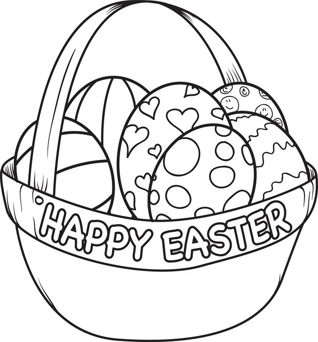 easter egg basket coloring page - Pictures To Colour For Toddlers
