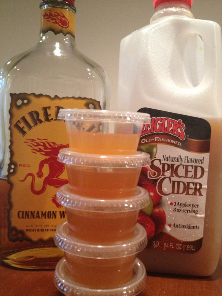 Fireball Cider Jello Shots  1 cup Fireball 1 cup apple cider 1-1/2 packets Knox powdered gelatin Jello shooter cups  Pour cider into medium sauce pan. Sprinkle gelatin on top. Do not stir. Let sit for 2 minutes to activate gelatin. Turn on low heat and stir until gelatin dissolves. Bring cider to light boil and remove from heat, Let cool slightly and add fireball. Pour mixture into cups and refrigerate to harden (about 2 hours).