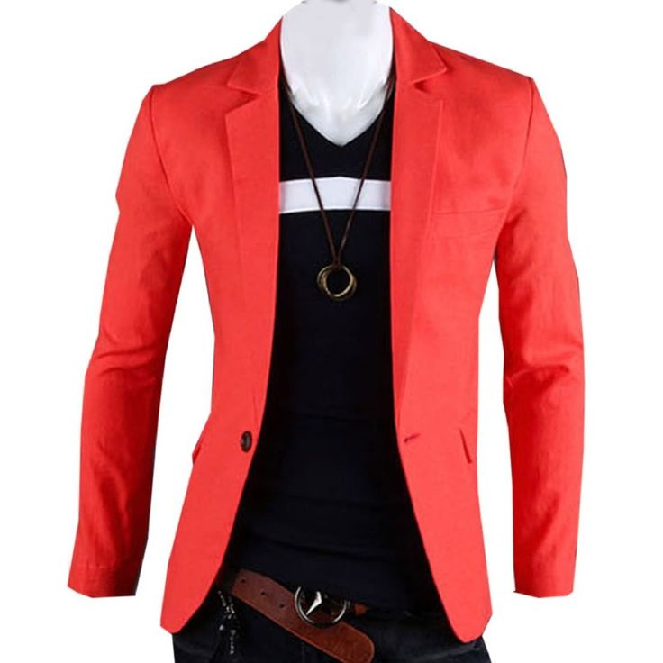 Casual Red Blazer
