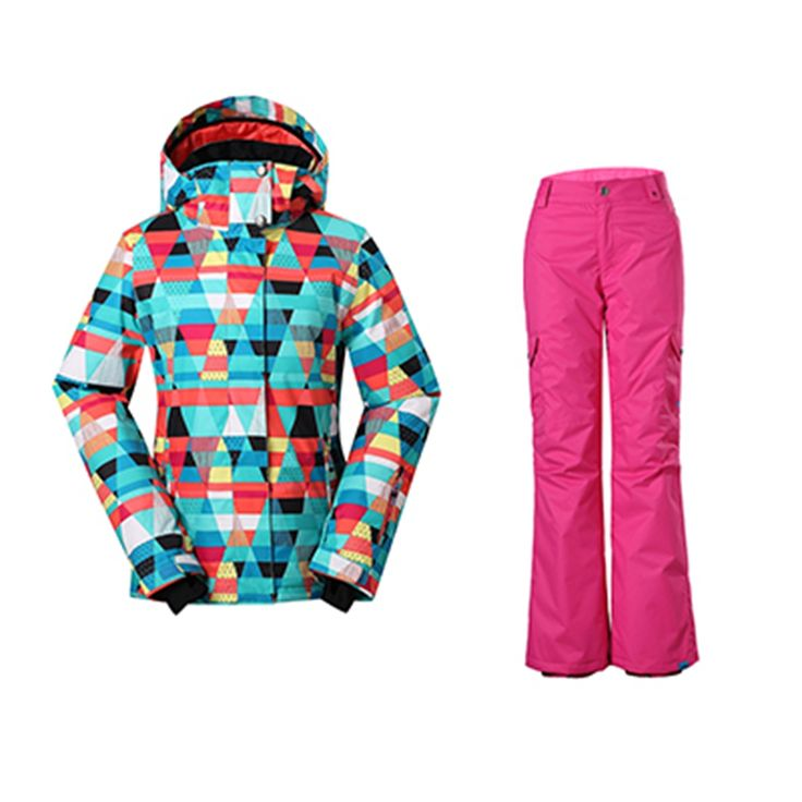 -30 Degree Ski Suits Women Colorful Cheap Snowboarding Jacket Warmth Pants Thermal Windproof Waterproof Ski Snow Sets