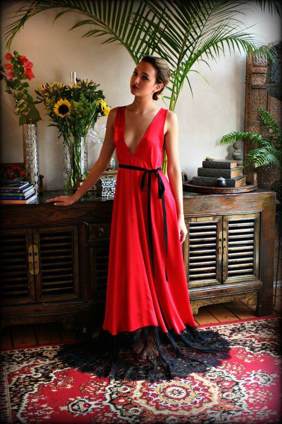 Camisón de satén rojo San Valentín ropa interior de encaje
