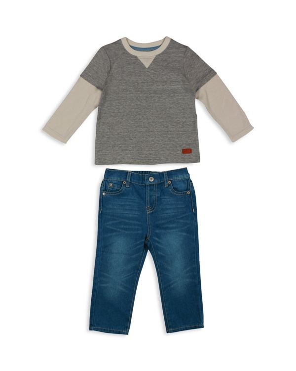 7 For All Mankind Boys' Layered Look Tee & Straight Leg Jeans Set - Sizes 2T-4T