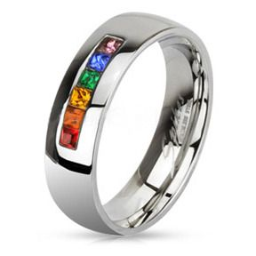 Rainbow String Smooth Round Top Ring - Lesbian and Gay Wedding Ring Marriage $25