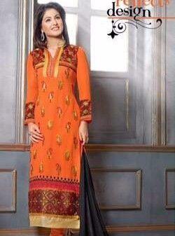 MF 34007 - Orange Color Georgette Designer Suit