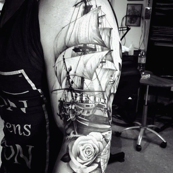 Traditional Ship Tattoo For Men