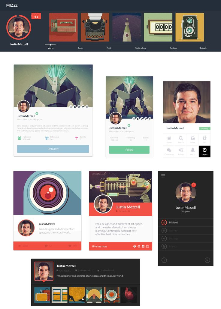 7 Free PSD Profile UI, #Buttons, #Flat, #Free, #Icon, #Profile, #PSD, #Resource, #UI