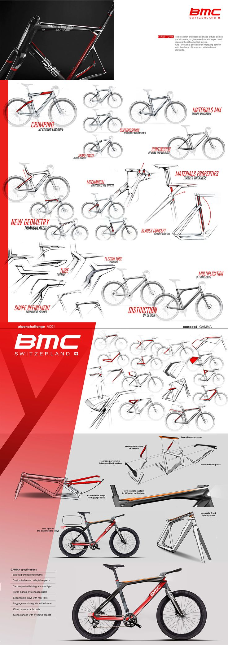 The objective is to provide a prospective design of an urban bike, based on the geometry of the BMC Alpenchallenge for upgrade its uses.