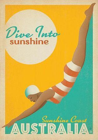 Dive Into Sunshine Sunshine Coast Australia measuring 42x60 cm (28-0021). Fast shipping from Sydney, Australia. $40