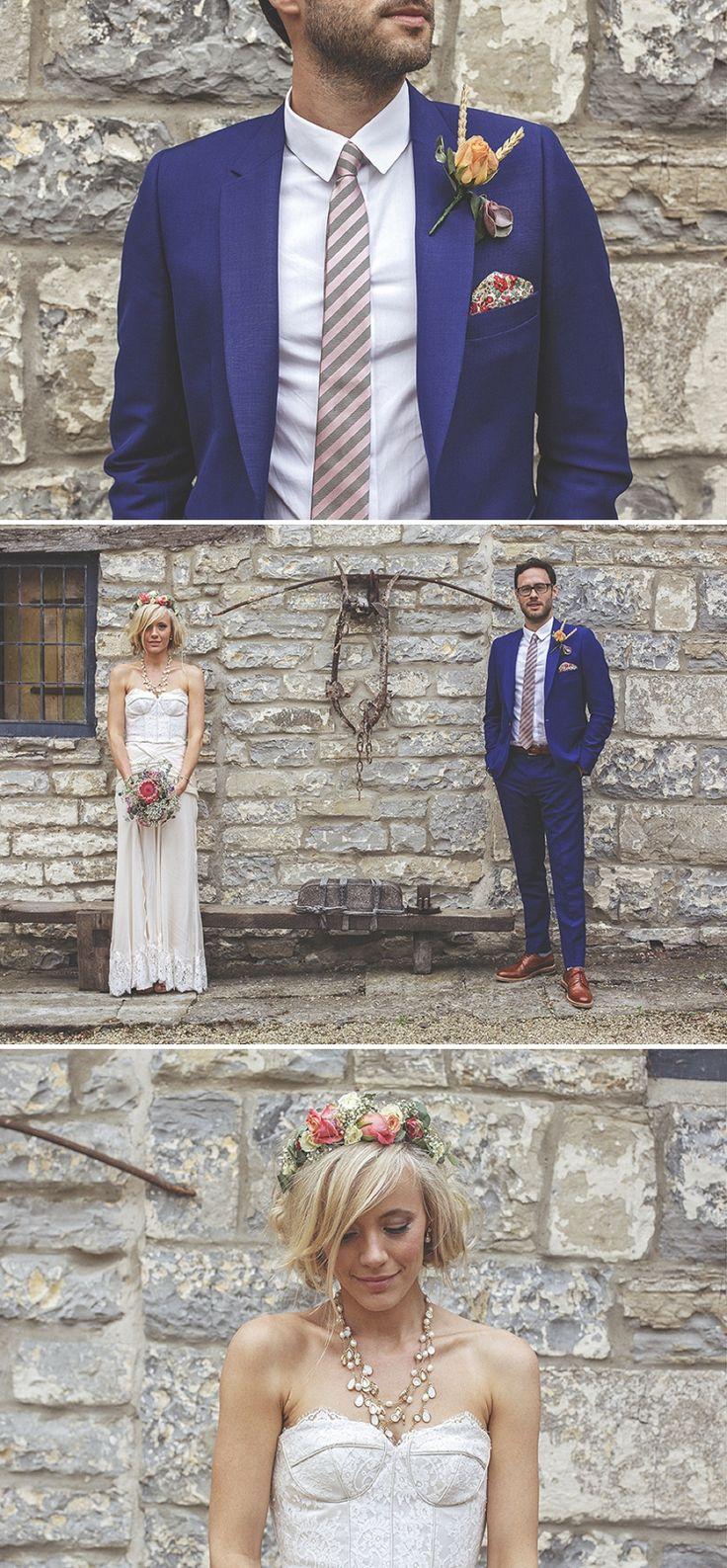 A bespoke designed by the bride wedding dress for a festival Glastonbury themed wedding in Somerset with a floral crown and vintage styling ...