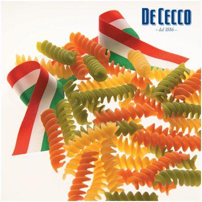 pasta tricolore prodotta dalla DE CECCO in occasione dei 150 anni dell'unità d'Italia