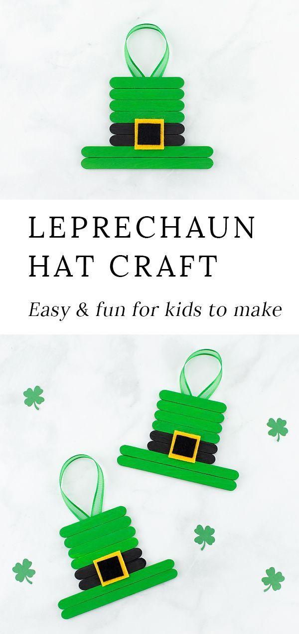 This unique and easy Leprechaun Hat craft, created from popsicle sticks, paint, and felt, is perfect for celebrating St. Patrick's Day with kids! #popsiclestickcrafts #stpatricksday #easycraftsforkids #preschoolcrafts