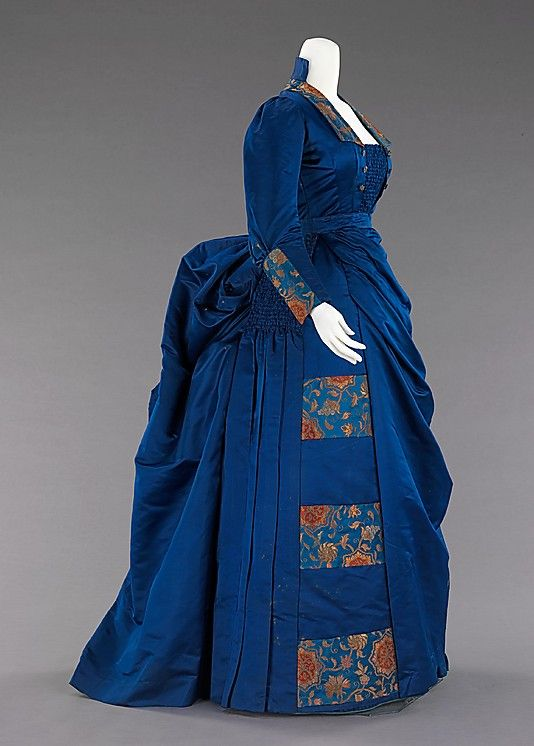 Blue silk afternoon ensemble (side, without high-necked bodice insert), American, 1885-88.