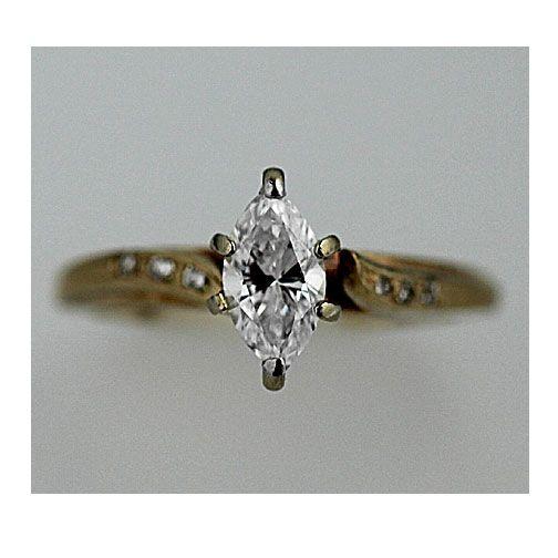 Mid-Century Estate 14 Kt Yellow Gold Marquis Diamond Engagement Ring Circa 1970's