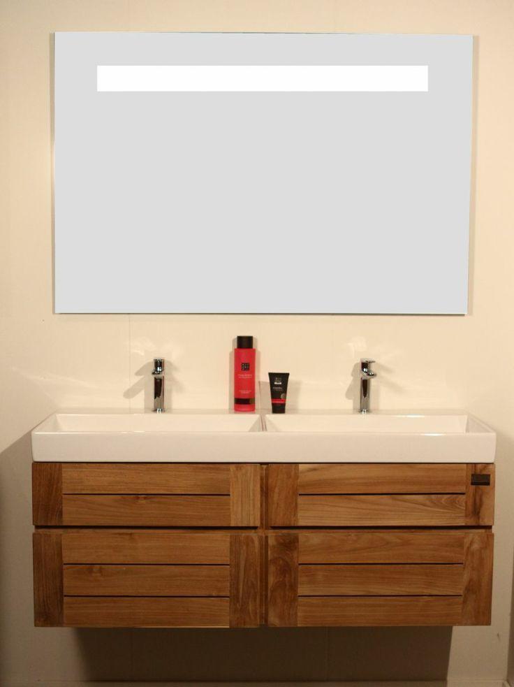 Badkamermeubelen van teakhout badkamers teak badmeubels ibiza 120 3 uitvoeringen - Badkamer meubel model ...