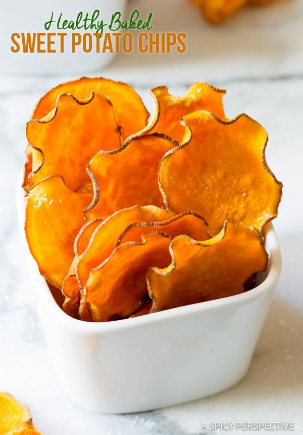 3-Ingredient Baked Sweet Potato Chips Recipe (Vegan, Paleo & Gluten Free!) | ASpicyPerspective.com