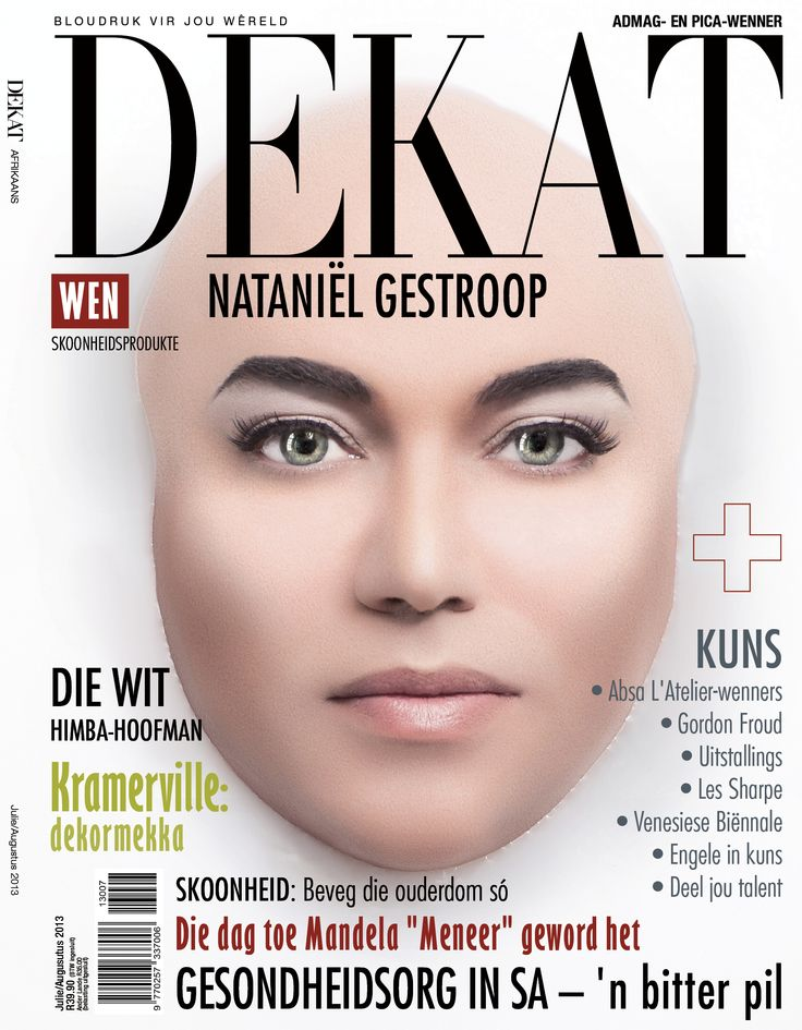 DEKAT July/August issue 2013, with Nataniël . Afrikaans edition.