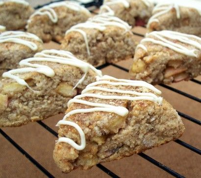 Apple, ginger, spice scones.  Very low sugar - like 4 tbsps for the whole batch!  WIN!  Going to have to try these...