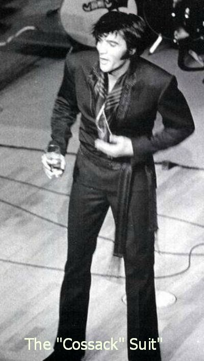 The two-piece Herringbone suit was inspired by the karate suit for Elvis to perform his karate moves during concerts).