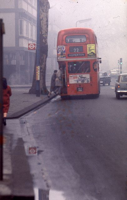 lushimperfections: England 1969 - London, King's Road - double-decker and typical foggy weather by borntobewild1946 on Flickr. Via Flickr: England 1969 - London, King's Road