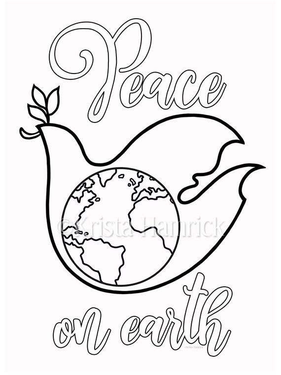 Peace Dove Coloring Page In Two Sizes 8 5x11 Bible Etsy Peace Dove Sunday School Coloring Pages Coloring Pages