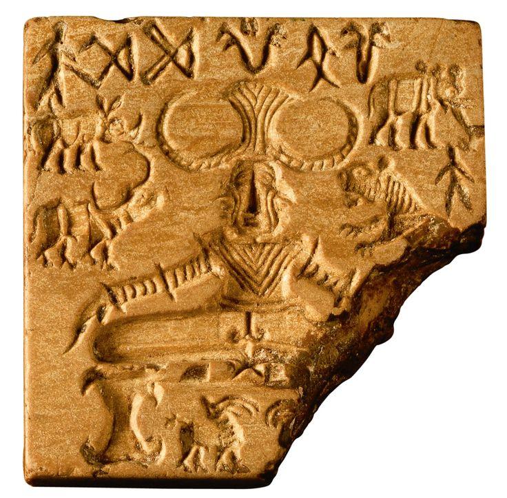 La cultura del valle del Indo · El sello Pashupati  Tallado en esteatita, mide 3,56 x 3,53 cm, y su grosor es de 0,76 cm. Fue grabado hacia 2500-2400 a.C. Museo Nacional, Nueva Delhi.