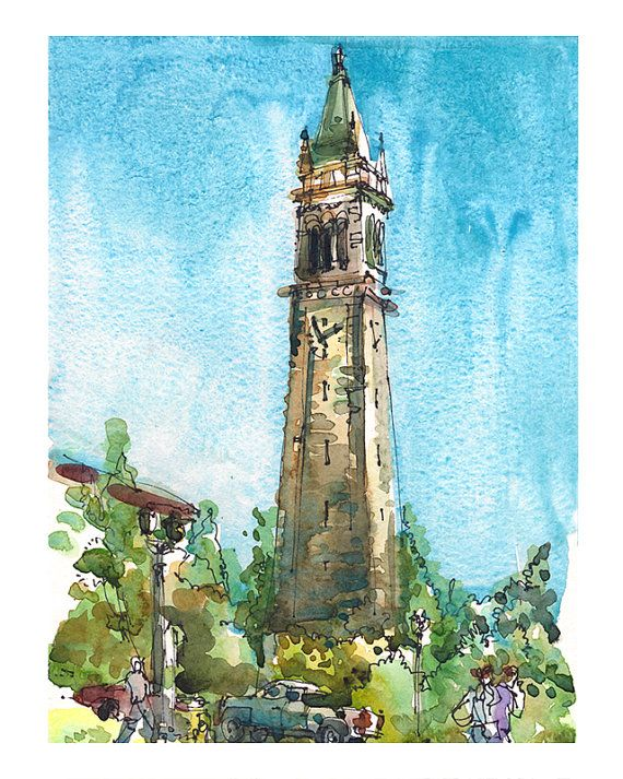 UC Berkeley Campanile, Sather Tower Clock. Watercolor Pen and Ink sketch.