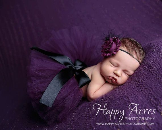 PLUM PRINCESS tutu, newborn tutu and headband, baby tutu, photography prop on Etsy, $34.95