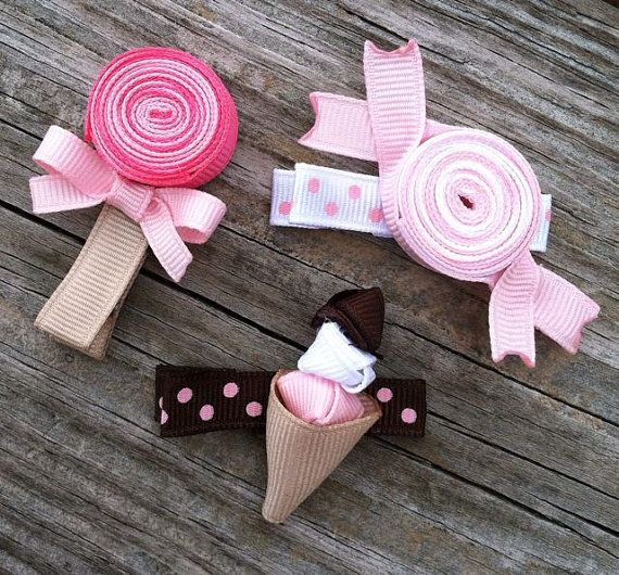 Set of 3 Sweet Treats Lollipop, Wrapped Candy and Ice Cream Cone Ribbon Sculpture Hair Clip Set - Toddler Hair Bows - Free Shipping Promo. $9.99, via Etsy.
