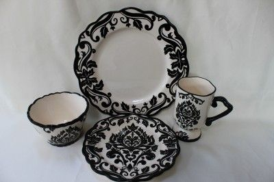 222 fifth damask floral round soup bowls - black/white - s/4 & 31 best dishes images on Pinterest | Dish sets Dishes and Kitchen stuff