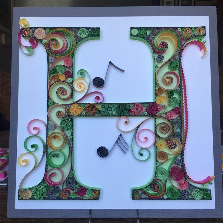 quilling quilled paper monogram lightweight cardstock letter h musical notes home. Black Bedroom Furniture Sets. Home Design Ideas