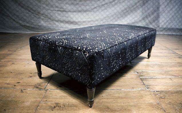 Designers Guild fabric on turned leg ottoman