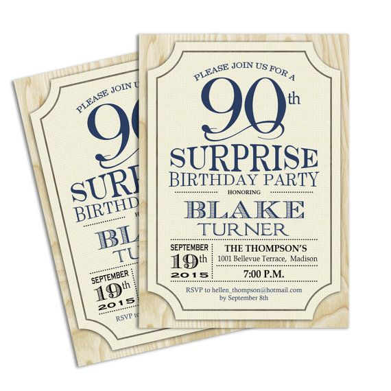 Surprise 90th Birthday Invitation / Any Age by TheStarDustFactory
