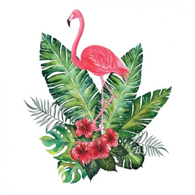 Aguarela do projeto flamingo decorativo Vetor grátis