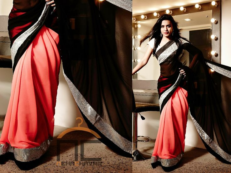 Saree at Nehachavan - PRODUCT CODE : NC010 Get this uber glamorous look by wearing this beautiful georgette saree, half in black and half in neon pink edged with silver sequins border and black silk border. You can customize this saree and get it in a wide range of color combinations to suit your needs. Buying this saree is simple, email us the product code NC010  at fashion@nehachavan.com and we will contact you with further details.