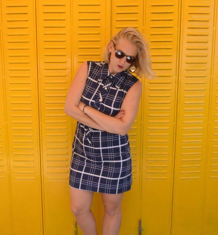 Vestido sixties // Mod // Vintage años 80-90 //Cuadros // Azul marino con lineas blancas // Lady Wangler // Talla 13-14 // Tropical Affaire de TropicalaffaireES en Etsy
