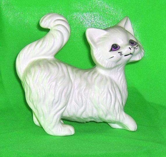 Large White Cat Vintage Figurine