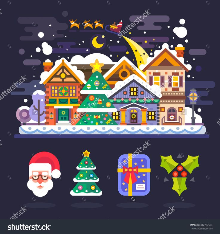Pretty winter village landscape with snow covered houses and Santa Claus in sleigh with deers flying over it. Isolated icons: Santa, xmas tree, christmas gift, mistletoe. Flat vector illustration.