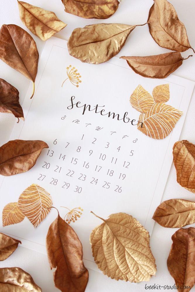 FREE September calander printable from Beekit Studio - - styling & photography Debrah Mindel