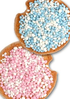 """When a baby is born, you give away """"beschuit met muisjes"""" Pink ~ for a baby girl and blue ~ for a baby boy"""