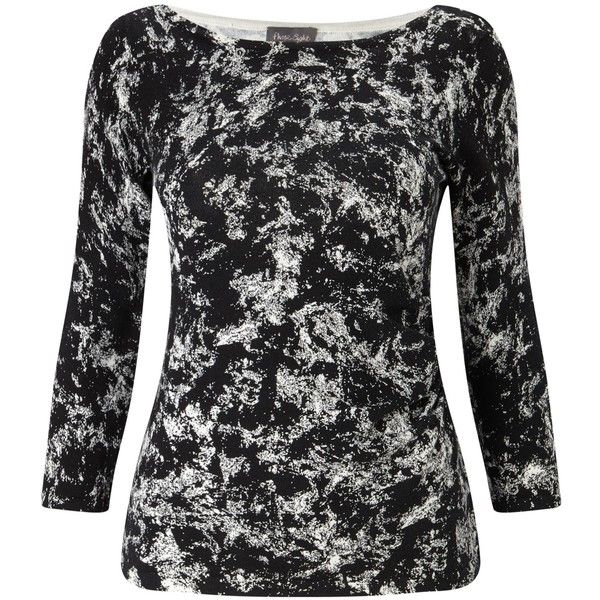 Phase Eight Marea Marble Print Jumper (75 CAD) ❤ liked on Polyvore featuring tops, sweaters, 3/4 sleeve sweaters, 3 4 sleeve boatneck top, cotton sweaters, boatneck sweater and boat neck tops