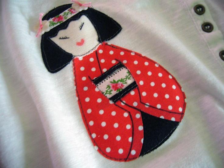 T-shirt with bambolina kokeshi